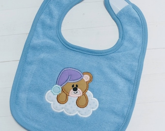 Sleepy teddy bear blue or pink embroidered terri cloth baby bibs for boy and girls
