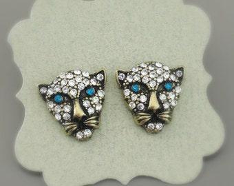 Big Cat Earrings - Gold Earrings - Panther Earrings - Crystal Earrings - Emerald Green Earrings - Panther Jewelry - Stud Earrings