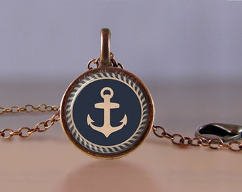 Jewelry - Lucky Penny Necklace Art - Nautical Anchor - Choose Chain Length - 1 Cent Jewelry - Charm - Pendant - Penny Jewelry