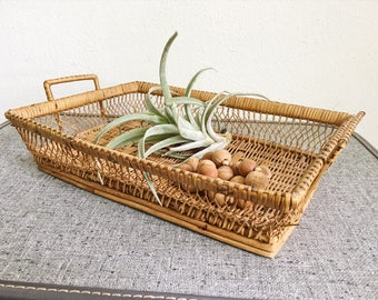 Woven wicker rattan basket tray boho home decor