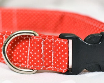 Red w/White Dots Dog Collar / Size LARGE / Ready To Ship
