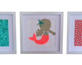 Framed Mermaid Artwork Set