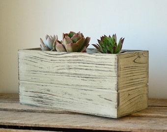 Distressed Rustic Rectangular Wooden Planter Box