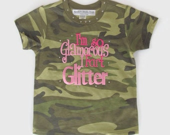I'm So Glamorous I Fart Glitter Toddler Girl Size 18 months Camo Tee baby gift, camo clothing, girls clothing, todler girl's clothing, camo