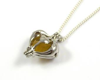 Rare Yellow Gold Sea Glass   Silver Heart Charm Necklace   Sea Glass Necklace   Love Necklace   The Strandline   Handmade Jewellery