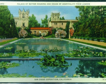 Vintage Linen Palace of Better Housing and Hospitality San Diego Exposition Unused 1935
