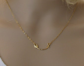 Arrow gold necklace, necklace gold filled arrow, necklace arrow, gold pendant arrow necklace, jewelry gift, bridesmaid gift