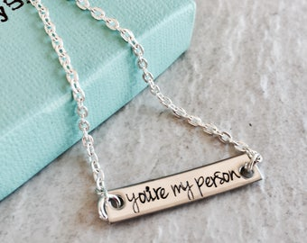 SALE personalized bar necklace you're my person jewelry best friend jewelry custom monogrammed jewelry sale jewelry gift jewelry for friends