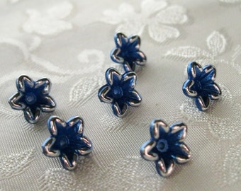 Tiny Cobalt Blue Silver Outline Pearl Lucite Acrylic Star Flower Beads 10mm 406