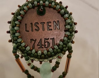Listen Bead Embroidery Necklace - 02LIS45