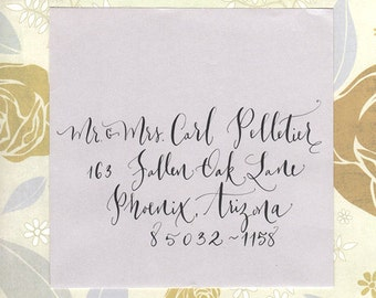 calligraphy addressing wedding envelopes hand lettering