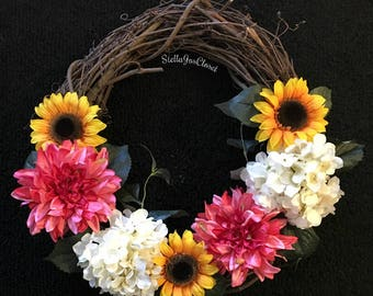 18 Inch Grapevine Wreath With a Variety of Vibrant Silk Florals
