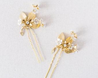 Gold Floral Bridal Hair Pins, Blossom Bridal Hair Pins, Crystal Wedding Hair Pins, Nature Inspired Bohemian Bridal Hair Pins - Style 525