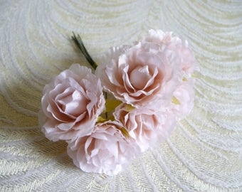 Blush silk flowers etsy small blush pink flowers carnations bunch of 6 roses blossoms for hats fascinators floral crowns crafts mightylinksfo
