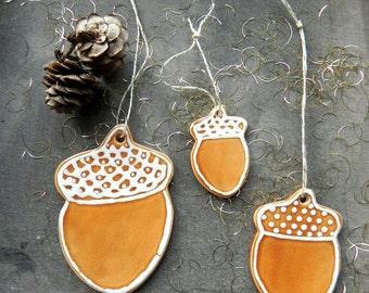 Acorn Ceramic Christmas Ornaments Caramel Woodland Rustic Home Decor - Set of 3