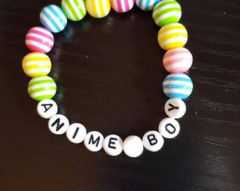 Heart Beads Fairy Kei Pastel Goth Stretch Bracelet