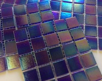 """3/4"""" Sapphire Blue Iridescent Glass Tile-25pc//Mosaic Tile//Blue Discount tile"""