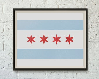 Chicago Flag Printable Instant Download Home Decor Wall Art 8x10 PDF Digital Print