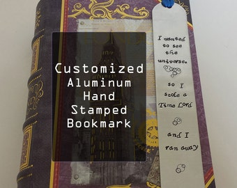 Custom Hand Stamped Aluminum Bookmark - Personalized - Handmade