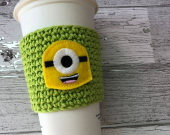 Yellow Monster Cup Cozy, Crochet Coffee Cozy, Coffee Sleeve, Drink Sleeve, Teacher Gift, Gift under 10, Party Favor