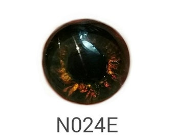 "N024E Glass Eye Cabochon, handpainted on clear domed fused glass, great dog/bear eyes, (deep browns), unique, lightfast, ""Fido"", single eye"