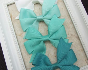 Classic Pinwheel Hair Bows, Hair Clips For Baby, BEST SELLER, Aqua, Jade , White, Hair Bow Clips, Toddler Girl, Girl Hair Clips, Teen Clips