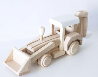 Wooden digger toy (custom colour choice) - Wooden toy - Gift for kids - Wooden  -  Wooden Vehicle - Toddler toys