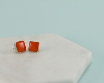 Stud Earrings. Silver Earrings. Orange Studs. Square Studs. Square Earrings. Geometric Studs. Geometric Earrings. Recycled Silver.Resin Stud