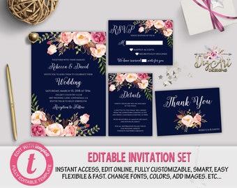 Navy blush invite | Etsy