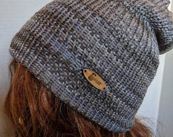 Hat, beanie, small, gray, warm, double, acrylic, vegan, knitting, small