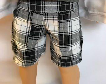 Black Plaid Cotton Shorts 18 inch boy doll clothes