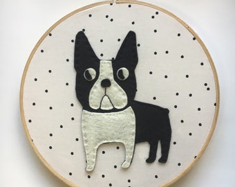 Embroidery Hoop Art, Wall Art, Nursery Room Decor, Black and White French Bulldog, Polka dots