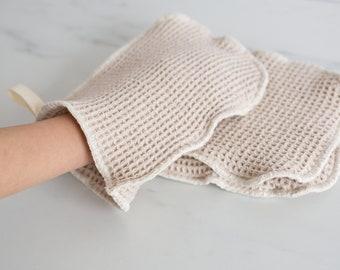 Organic Natural Waffle Weave Cotton Washcloth Mitt- smaller size