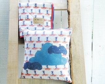 Birds In Flight Pillow Cover - Quilted Pillow, Organic Cotton, Home Decor, Decorative Pillow, Accent Pillow, Bird Pillow 18 x 18