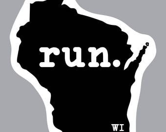 run. - Wisconsin State Decal (Black)
