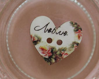 button heart flower writing