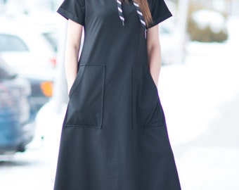 Hooded Dress, Quilted Cotton Black Long Dress for Women, Casual Dress, Long Dress, Loose Dress, Short Sleeve Dress, Ladies Dress - DR0218W2