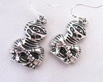 Mummy Earrings Zombie Earrings Walking Dead Earrings Mummies Silver Pewter Gifts for Zombie Lovers