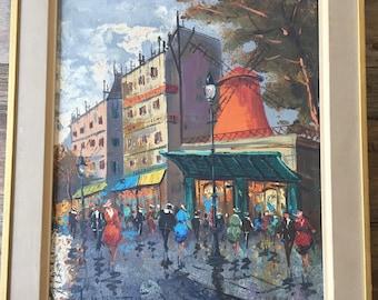 Original Oil on Canvas, Moulin Rouge Paris Painting, Framed Painting, Paris Street Scene, Signed Oil Painting, Framed Wall Art, Parisian Art