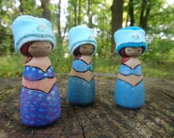 Waldorf Birthday Ring Decor, Mermaid Princess, Small Wooden Peg Doll, jeweled crown, Girl Birthday, blue, turquoise, brown, wood burned