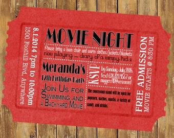 5 x 7 inch Admit One Movie Night Ticket Invitation ... updated design :)