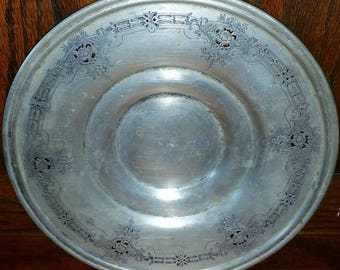 Vintage Poole Silver Plated EPNS Floral Plate Dish