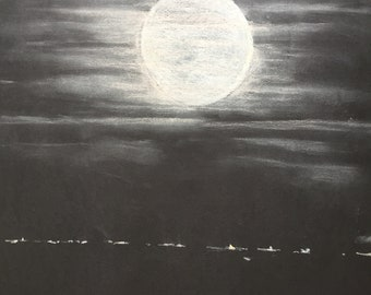 Pastel drawing on black card of full moon at night