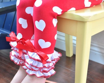 Red and White Heart Print Valentine's Day Leggings with White Full Ruffles / Girls Leggings