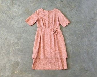 chantilly lace 50s party dress | pink lace layered dress | vintage lace short sleeve dress | 1211132