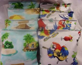 8 ACA Regulation Cornhole Bags - Margaritaville Tropical Parrots and Tiki Huts