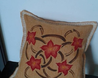 Ethnic pillow design hand painted flowers