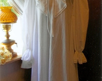 Custom made Cotton Renaissance Nightgown with deep V neck Ruffle