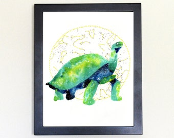 Tortoise Spirit Animal Art Print Watercolor 8x10