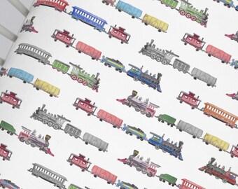 Organic Train CRIB FITTED SHEET - Locomotive Theme Crib Sheet - Train Nursery Bedding - Made To Order